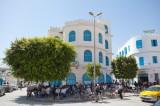 Mannliche Cafe-Kultur am Hauptplatz von Kairouan